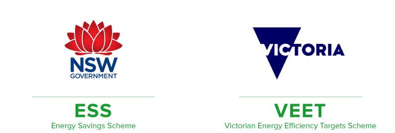 ESS logo (NSW) and VEET logo (VIC)